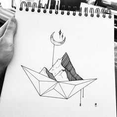Together we can move mountains! #illustration #illustrator #design #sketch #draw #drawing #ink #pen #tattoo #tattoodesign #linework #dotwork #blackwork #blackworkers #blackandwhite #art #artwork #artist #artistic #instaart #inktober #moon #mountains #boat #anchor #minimal #nature #landscape #instafollow #evasvartur