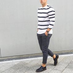 Striped #sweater gray trouser and #monkstrap shoe by @lukasscepanik7  [ http://ift.tt/1f8LY65 ]