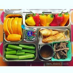 I don't think my family believes me when I say all they're eating is pot roast until it's gone. Monday's @planetbox lunch is pot roast with pan sauce and bread for dipping (or she can eat it as a sandwich), local celery, oranges, sweet peppers, and a peppermint patty for dessert. We trust their labeling for her #peanutallergy so I like being able to include chocolate when it's safe for her since she can't eat most of it because of cross contamination risks. Happy packing, peeps!