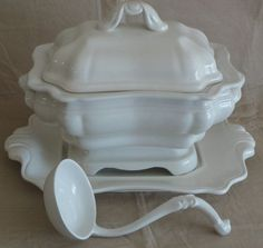 vintage tureens | Vintage Ironstone Soup Tureen and Accessories