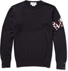 Thom BrowneButterfly-Intarsia Cotton and Cashmere-Blend Sweater