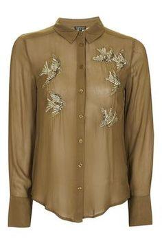 PETITE Embellished Swallow Shirt