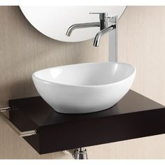 This application works best with deck mount faucet as shown, Caracalla CA4047, Oval White Ceramic Vessel - Width: 15.4 in x Depth: 12.8 in x Height: 5.5 in