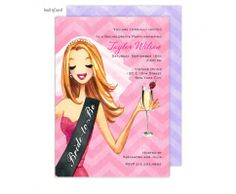 Champagne Toast Bride Invitation by Bonnie Marcus #bachelorette #bridetobe