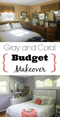 This room went from drab to fab with a gray and coral bedroom makeover! Complete with DIY projects for furniture, fabric and yard sale accessories, Marty's Musings proves you can have a tight budget and still create a beautiful bedroom!