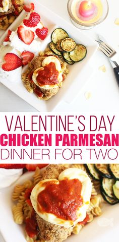 Cute Chicken Parmesan Valentine's Day Dinner Idea for Two Make Valentine's Day special at home with this simple Chicken Parmesan Valentine's Dinner for Two Dinner Near Me, Dinner For Two, Valentine Desserts, Valentines Food, Valentines Recipes, Lemon Sugar Cookies, Low Carb Cheesecake, Chicken Parmesan Recipes, Gastronomia