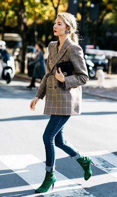 Obsessed! Plaid Jacket + Jeans + Booties (7 Standout Outfit Combinations Inspired by Street Style via /WhoWhatWear/)