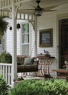 Southern Front Porch- installing a ceiling fan - Very southern and makes the porch more summer friendly!