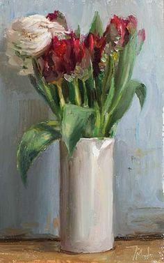 Julian Merrow-Smith | Tulips and ranunculus, oil on board, 2013