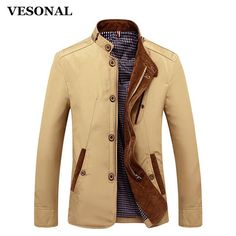 VESONAL Spring Autumn Polyester Slim Fit Thin Stand Button Male Casual Jacket Men… #BlackFriday is coming early #BestPrice #CyberMonday
