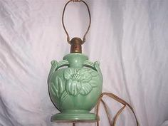 Superb Vintage Pottery Electric Table Lamp Original Mat Green McCoy Haeger Or