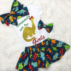 Dinosaurs Are For Girls Outfit dinosaur by AllThatGlittersBaby Dinasour Birthday, Girl Dinosaur Birthday, Dinosaur Party, Bday Girl, 4th Birthday Parties, Baby Birthday, Birthday Ideas, Baby Kids Clothes, Dinosaur Baby Clothes