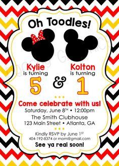 Double Disney Mickey Minnie Printable Birthday by PeachyGraphics