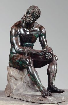 'BOXER AT REST' A magnificent life size cast bronze statue from the Hellenistic period, now at the MMA Metropolitan Museum. On loan from the Nation Museum of Rome.
