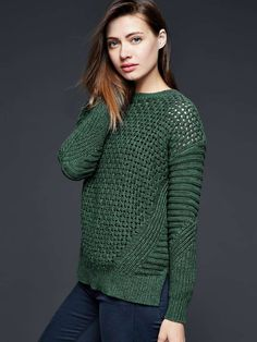 Ready to wear sweater. I love the colour and the stitch mix.