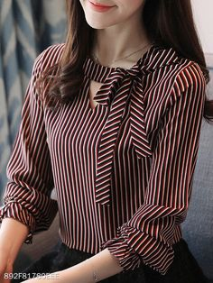 Autumn Spring Women Tie Collar Striped Long Sleeve Blouses - New In Tops Women Ties, Blouses For Women, Blouse Styles, Blouse Designs, Fashion For Petite Women, Petite Outfits, Petite Dresses, Summer Dresses For Women, Long Sleeve Tops