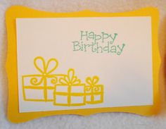 Happy Birthday gift tags in primary colors, set of five hand stamped Happy birthday tags, die cut primary color gift tags