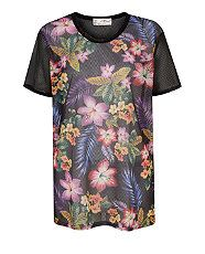 null (Multi Col) Misumi Airtex Contrast Sleeve Floral Print T-Shirt  | 309465199 | New Look