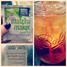 @lee_lie_k_fit Best tea evaaa! Doesn't need sugar, honey, nothin! So good. It's Good Earth and the flavor is Matcha Maker. And each one comes with an quote on the tab. I like mine chilled. Try it out :) #goodearthtea #matcha #hcg #omnidrops #omnitrition