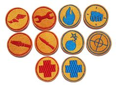 Iron on or Velcro backed Team Fortress 2 BLU RED Patches by ThatsWhatINeeded, $4.50