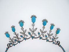 Extraordinary Antique Turquoise and Diamond Demi -Parure | From a unique collection of vintage drop necklaces at https://www.1stdibs.com/jewelry/necklaces/drop-necklaces/