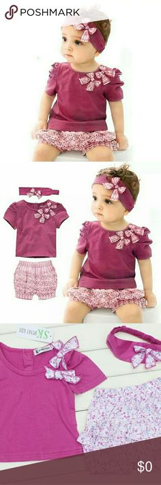 🆕3pc Toddler Girls Short Set, 24m NWT This Cute 3pc set includes a headband, Shirt, and shorts. The Headband is purple w/ floral design bow, shirt is also purple w/ 2 bows on left shoulder, and the short have the same floral print threw out. Perfect Outfit for summer.  #Poshmini Matching Sets
