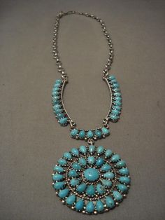 MUSEUM VINTAGE NAVAJO NATURAL EASTER BLUE TURQUOISE SILVER NECKLACE