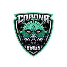 Coronavirus mascot wearing gas mask in the shield logo illustration , Shield Icon, Shield Logo, Ninja Logo, Helmet Logo, Graffiti, Cartoon Logo, Army Wallpaper, Medical Logo, Super Hero Costumes