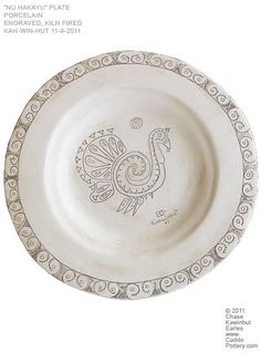 Nu Hahkayoo, White Turkey, hand made plate by Chase Kahwinhut Earles featuring my Nu (turkey) Logo. www.CaddoPottery.com