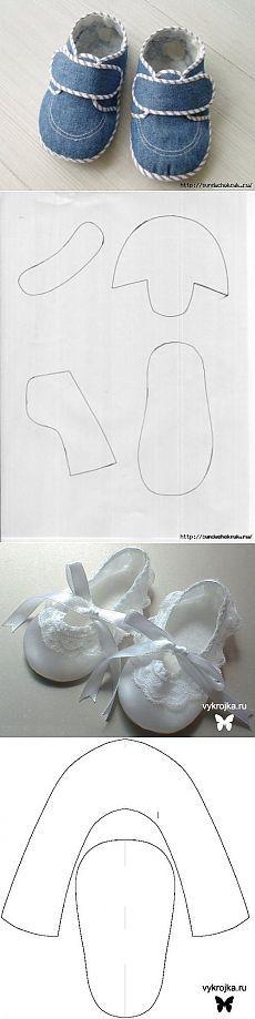 Los zapatos para niños. Las ideas y los patrones.