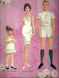These were one of my favorite sets - still have them. Wedding Paper Dolls Original Uncut 1966 Whitman