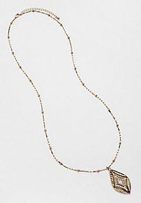 goldtone metal pendant necklace with rhinestone center - alternate image