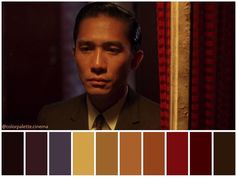 In the mood for love Movie Color Palette, Colour Pallete, Color Palettes, Colour Schemes, Chiaroscuro, Cinema Colours, Color In Film, Sutra, Cinematic Photography