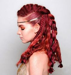 Sexy Hair Hosts Social Media WorkshopYou can find Fantasy hair and more on our website. Braided Mohawk Hairstyles, Pretty Hairstyles, Braided Hairstyles, Fantasy Hairstyles, Short Hairstyles, Viking Hair, Viking Braids, Diy Wedding Hair, Wedding Makeup
