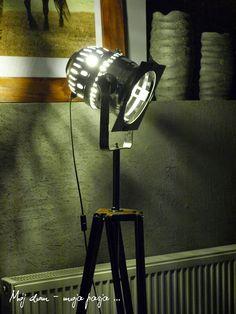 lamp, tripod, loft, industrial, night, salon, decor, home