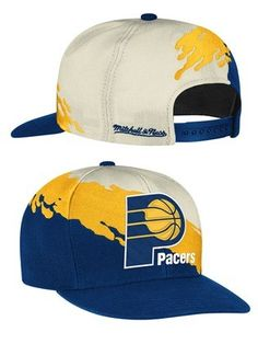 fb845c57f47 Indiana Pacers paintbrush hat by Mitchell  amp  Ness is a flat billed hat  with a