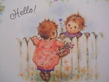 Vtg Hallmark Mary Hamilton Blank Note Card, Children at Fence/Flowers, Unsigned