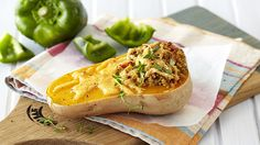Butternut is a firm favourite as it's readily available all year round. So make sure you treat your family to this decadent, stuffed butternut dish. Romantic Recipes, Cheesy Rice, South African Recipes, Feta Salad, Blue Cheese, Oven Baked, Squash, Side Dishes, Salads