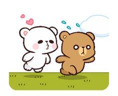LINE Creators' Stickers - Milk & Mocha : Playful (Animated) Example with GIF Animation Cute Bear Drawings, Cute Couple Drawings, Cute Couple Cartoon, Cute Love Cartoons, Kawaii Drawings, Bear Gif, Hug Gif, Cute Kawaii Animals, Cute Love Stories