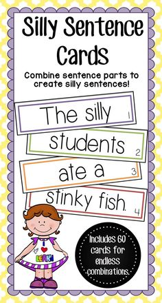 Awesome sentence building center! Simply print and cut the cards! Students will love getting the chance to be creative as they use these fun cards to make their own silly sentence. There are 4 sections, each with 15 cards, that are labeled by the color of their border and a number. This will ensure that students have the cards in the right order for a proper sentence.