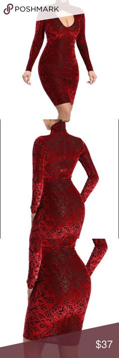 To The Climax Velvet Dress Description: *** New Style Soft velvet paisley patterned bodycon dress with drapy neck line. Key hole on the front. High neck. Zipper on the back to secure.  Content: 26%Nylon 66% Polyester 8%Spandex Dresses Midi