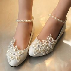 Sparkling Full Toe Flat Across Diamonds Gorgeous Bridal Lace Wedding Shoes