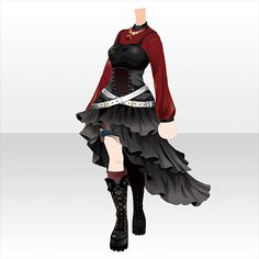 Anime Outfits, Cool Outfits, Fashion Art, Fashion Outfits, Fashion Design, Chibi Hair, Clothing Sketches, Anime Dress, Anime Hair