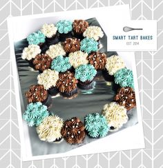 Number 8 pull-apart cupcakes cake; in brown, Tiffany blue and cream.