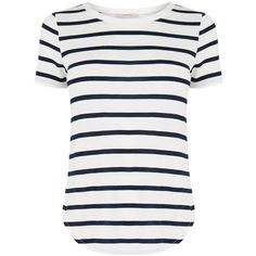 OASIS Stripe Perfect T-Shirt (£21) ❤ liked on Polyvore featuring tops, t-shirts, shirts, tees, multi, white striped shirt, striped tee, cap sleeve t shirt, white stripes t shirt and stripe t shirt