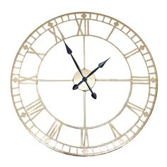 Round Wall Clock Antique Gold from PAGAZZI - Sleek Round Wall Clock Finished in Antique Gold - Intricate Hollow Design - Next Day Delivery Available Gold Wall Clock, Wall Clock Design, Wall Clocks, Cottage Style Decor, Lighting Store, Antique Gold, Bronze, Antiques, Metal