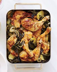 Roasted Chicken Legs with Potatoes and Kale  - Fast Chicken from Food & Wine