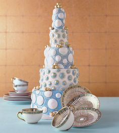 """Brides: Wedding Cake Inspiration: China Patterns : baby blue and fancy gold leaf accents were inspired by   """"Syracuse"""" five piece place settings   890.00 by Robert Haviland and C. Parlon; Chocolate blackout Cake filled with Sugarpaste. Serves 100, $2600.00 cake by Margaret Braun NYC"""
