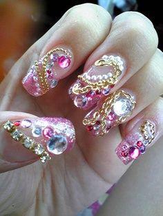Pretty Pink Jewelled Nails