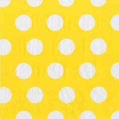 Big Dots Yellow Buttercup Lunch Napkin - Polka Dot - Patterns PlatesAndNapkins.com